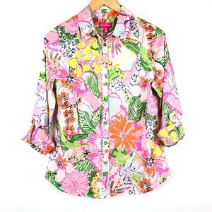 LILLY PULITZER Floral Roll-Cuff Sleeve Button Top